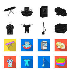 Vacuum cleaner a stack of cloth dirty and clean vector