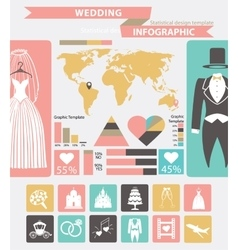 Wedding infographic setWedding wearworld map vector