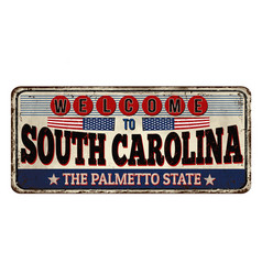 Welcome to south carolina vintage rusty metal sign vector
