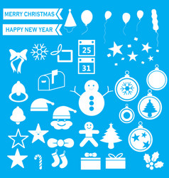 white christmas icons vector image