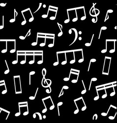 white musical notes seamless pattern background vector image