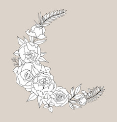 with peonies and roses hand drawing for the design vector image