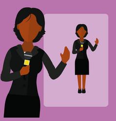 woman journalist cartoon vector image