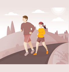 Young couple running around in the park vector