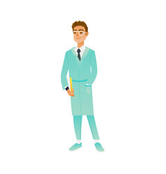 young man in medical uniform and glasses standing vector image