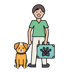 young man with little dog and medical kit vector image
