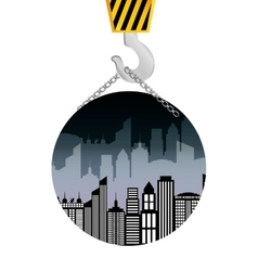 building construction crane hanging badge vector image