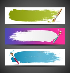 Colorful paint brush banners background set vector