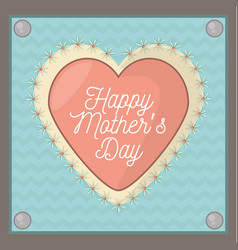 happy mothers day card shape heart ornament vector image vector image