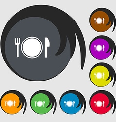 Plate icon sign Symbols on eight colored buttons vector image vector image