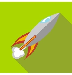 Rocket with flame icon in flat style vector image vector image