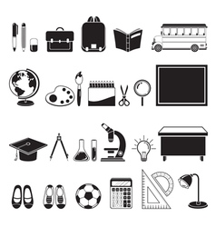 School Supplies Icons Set Monochrome vector image vector image