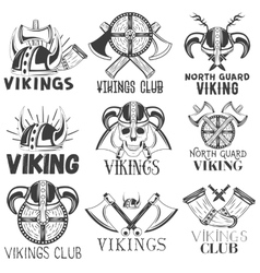 set of vikings labels in vintage style vector image vector image
