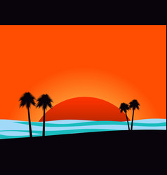 silhouettes of palm trees on sunset background vector image