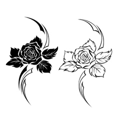 Two Monochrome Roses vector image vector image