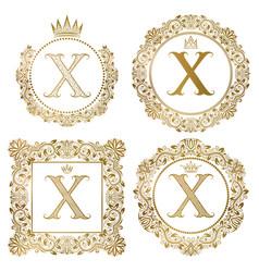 golden letter x vintage monograms set heraldic vector image vector image