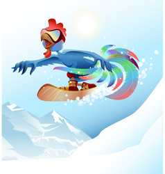 Rooster on snowboard riding mountain Blue cock vector image vector image