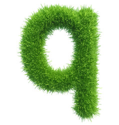 Small grass letter q on white background vector