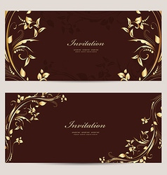 vintage invitation cards for your design vector image vector image