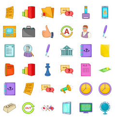 business strategy icons set cartoon style vector image vector image