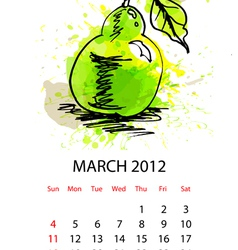 calendar for 2012 with fruit march vector image