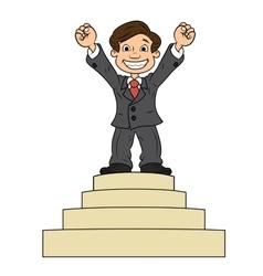 Businessman is standing on pedestal vector image vector image