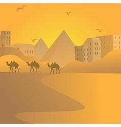 camel caravan travel in desert with pyramids of vector image