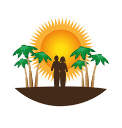 color silhouette with tropical landscape vector image