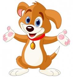 cute puppy raising his hands vector image