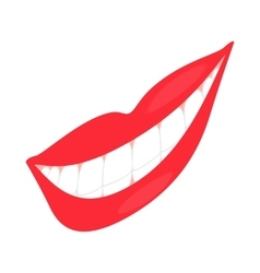 Smiling mouth with healthy teeth icon vector image