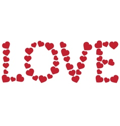 Word love made of red hearts vector