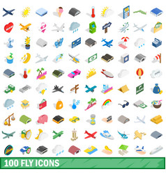 100 fly icons set isometric 3d style vector image