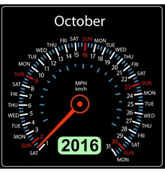 2016 year calendar speedometer car October vector image vector image