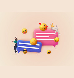 3d chat bubble with emoji talk dialogue messenger vector