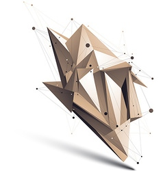 Abstract deformed asymmetric object with lines vector