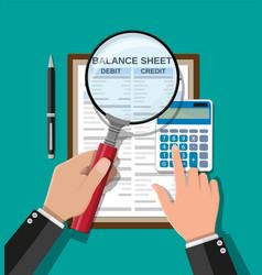 accountant checks money balance vector image