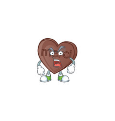 Angry face one bite love chocolate cartoon vector