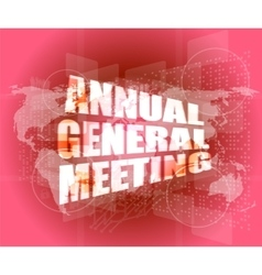 annual general meeting word on digital touch vector image
