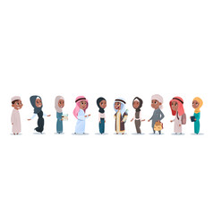 Arab children girls and boys group small cartoon vector