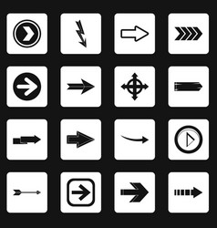 Arrow icons set squares vector