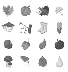 Autumn items icons set monochrome vector
