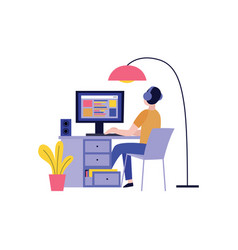 back view of man in headphones working with vector image