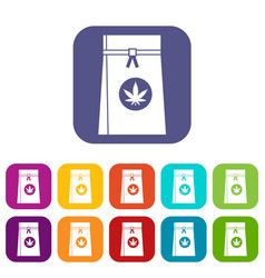 bag with cannabis icons set vector image