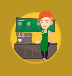 barista standing near coffee machine vector image