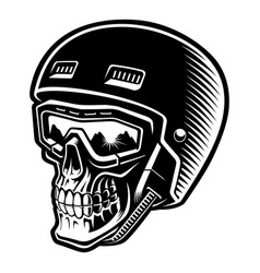 black and white a skier skull vector image
