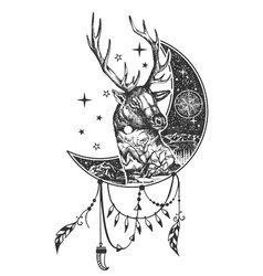 Boho deer tattoo or t-shirt print design vector
