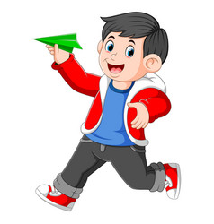 boy using red jacket vector image
