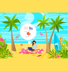 Business people working on tropical beach flat vector