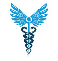 caduceus symbol made using bird wings and vector image
