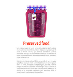 Canned plums in glass jar with rustic decoration vector